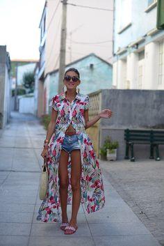 Denim Shorts, Kimono Top, Bohemian, Tops, Women, Style, Fashion, Swag, Moda