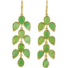 Irene Neuwirth Chrysoprase Three-Piece Leaf Drop Earrings ($2,310) ❤ liked on Polyvore
