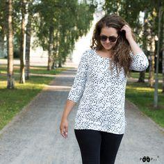 PaaPii Design USVA shirt, Spotty Polka Dot Top, Black And White, Shirts, Tops, Design, Women, Fashion, Moda, Black N White