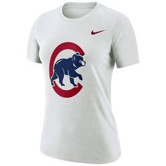 Women's Chicago Cubs Nike White Logo Dry Performance T-Shirt