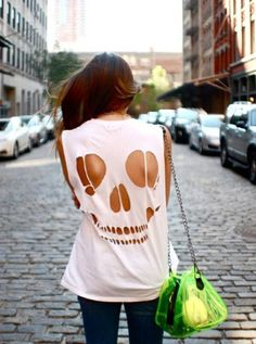 T-Shirt Makeovers - DIY Skull T-Shirt - Awesome Way to Upcycle Tees - Cool No Sew Tshirt Cutting Tutorials, Simple Summer Cutouts, How To Make Halter Tops and T-Shirt Dresses. Easy Tutorials and Instructions for Teens and Adults http:diyprojectsforteens.c