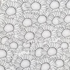 A page bursting with sunflowers from the Fabulous Flowers, the Gift of Colouring for Grown-ups