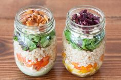 This simple make-ahead Mason Jar Couscous Salad recipe will be your healthy savior at lunchtime on busy weekdays. Fresh greens, protein, and couscous salad.