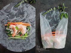 vietnamese summer rolls, vietnamesische Sommerrollen, Reispapier, Erdnusssauce, Minze