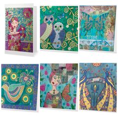 This is a set of 6 from a limited edition run of lovely cards featuring prints of Amandas original mixed media collages entitled Shine,