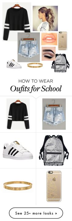 """""""A day of school"""" by jungkookiesgirl on Polyvore featuring adidas, Casetify and Cartier"""
