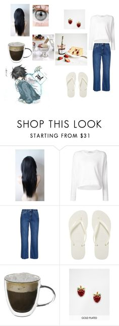 """""""Daughter of L - Death Note"""" by draco-malfoy-lives ❤ liked on Polyvore featuring T By Alexander Wang, Raey, Havaianas, Bill Skinner, Zodax, women's clothing, women's fashion, women, female and woman"""