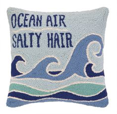 Ocean Air Salty Hair Hook Wool Throw Pillow