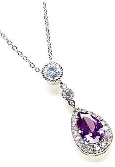ND® New Directions Pear Stone and Pave Amethyst Pendant