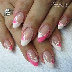 Nächstes Mal - - nails french tip Nächstes Mal - Today Pin Sparkle Nails, Silver Nails, Pink Nails, My Nails, French Nails, Cute Nails, Pretty Nails, Nail Tip Designs, Halloween Nail Art