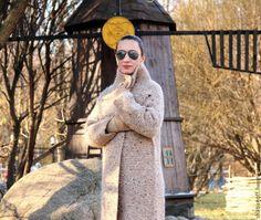 """Купить Пальто """"Рижский песок"""" - бежевый, однотонный, пальто вязаное, пальто из шерсти, кардиган вязаный"""