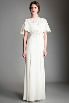 Temperley London: Silk Crepe de Chine gown with fluted sleeves and draped back