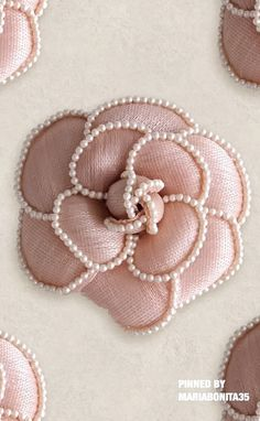 The Camellia Flower by Chanel Hand Embroidery Dress, Tambour Embroidery, Bead Embroidery Patterns, Couture Embroidery, Embroidery Fashion, Hand Embroidery Designs, Ribbon Embroidery, Beaded Embroidery, Camelia Chanel