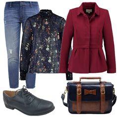 Jeans baggy blu e camicia con colletto alla coreana a fantasia floreale. Giacca bordeaux e stringate sempre blu. Borsa multi tasche a tracolla stile old school. Un outfit da tutti i giorni per essere sempre pratica ma con stile.