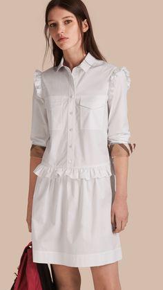 Vestido estilo camisa de algodão com detalhe xadrez e babados Branco | Burberry