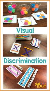Visual discrimination is an important skill for children to develop to assist with reading, writing and math skills. Visual Motor Activities, Visual Perceptual Activities, Fine Motor Activities For Kids, Kindergarten Activities, Preschool Activities, Kindergarten Classroom, Auditory Processing Activities, Preschool Fine Motor Skills, Morning Activities