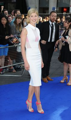 Rosamund Pike in Victoria Beckham and Elie Saab heels