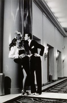 Gia Carangi. 1977. Photo by Helmut Newton and suit by Yves Saint Laurent.