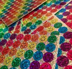 Who remembers these sparkly smiley face stickers you would get in school for a good grade on an assignment? Bring these colorful stickers back! Photo Wall Collage, Picture Wall, Different Aesthetics, Rainbow Aesthetic, Aesthetic Pictures, Aesthetic Wallpapers, Smiley, Childhood Memories, Vsco