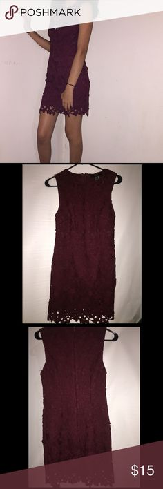 Dress Cute mini burgundy dress, with a  floral design all around. Forever 21 Dresses Mini