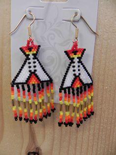 Native American Hand Crafted Seed Bead Teepee Earrings