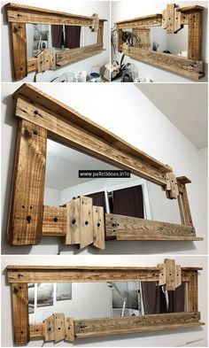 Renovate your bathroom, bedroom and other areas at home with this unique and eye-catching pallets mirror plan. This plan will provide you a different-looking mirror construction for your place. And the most wonderful thing is that you can craft it your own with recycled wood pallets.