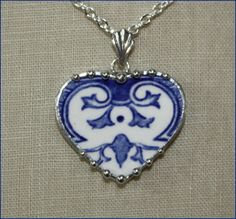 Broken China Jewelry Blue and White Transferware by robinsrelics