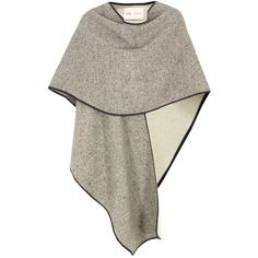 Folk Dark Grey Herringbone 10w Cape ($435) ❤ liked on Polyvore