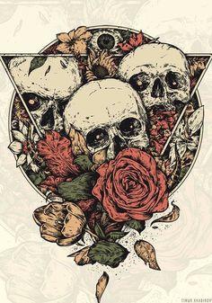 Immerse by timur khabirov, via behance dark tattoo, tatoo, crane, skull artwork Kunst Tattoos, Skull Tattoos, Body Art Tattoos, Art Sketches, Art Drawings, Brust Tattoo, Art Mur, Skull Illustration, Skeleton Art