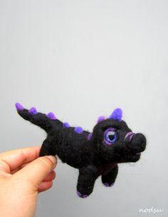 Black dragon  hand painted glitter eyes needle felted by nodsu