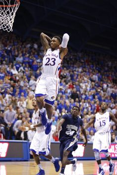 Kansas guard Ben McLemore elevates for a two-handed jam against Chattanooga during the second half ~ 11.15.12