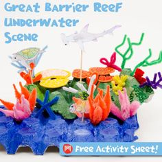 Australia Craft - learn about  The Great Barrier Reef with this super cute craft for kids (geography, homeschool, preschool)