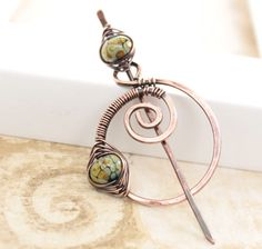 Solid copper shawl pin or scarf pin with spiral by IngoDesign