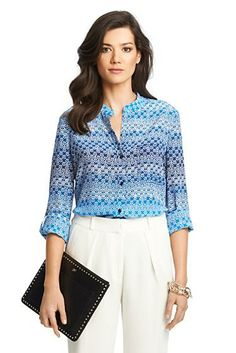 Gilmore Printed Silk Blouse In Moroccan Lace Catalina