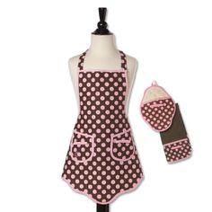 designer aprons | ... Gifts / Designer Aprons / Brown & Pink Polka Dot Designer Apron Set