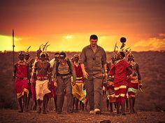 Yao walks with Samburu warriors in Kenya. (Photo by Kristian Schmidt for WildAid, via yaomingblog.com) - Yao Ming visits Kenya to film anti-poaching documentary aimed at protecting African elephants, rhinos