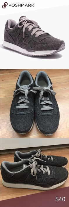 Saucony & Madewell Grey Flannel DXN Sneakers Amazingly comfortable grey Flannel sneakers in excellent condition! Very minor pilling and wear. Run small- would fit size 8-8.5 best. Madewell Shoes