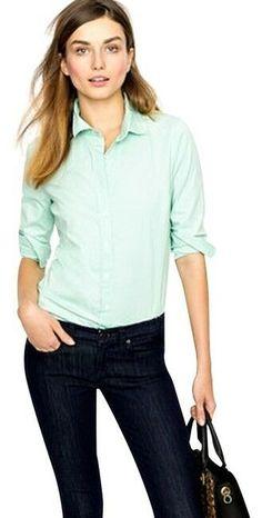 2c3d62a5 J. Crew Perfect Shirt Top Size M Roll Tab Slv Button Pockets Light Green EUC