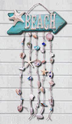 Beach Decor Sign Coastal Decor Beach House by ThePaintedPearlSRQ - Home Decor Ideas Seashell Art, Seashell Crafts, Beach Crafts, Seashell Wind Chimes, Beach Wall Decor, Beach Cottage Decor, Coastal Decor, Cottage Crafts, Cottage Signs