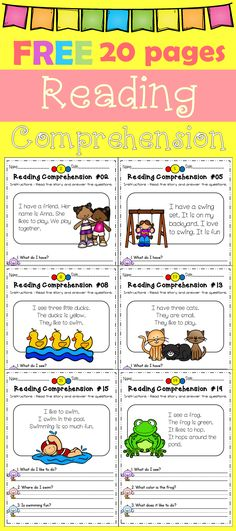 Kindergarten Freebies Reading Comprehension 20 Pages. Reading Fluency, Reading Intervention, Reading Passages, Reading Strategies, Reading Activities, Reading Skills, Guided Reading, Teaching Reading, Teaching Kids