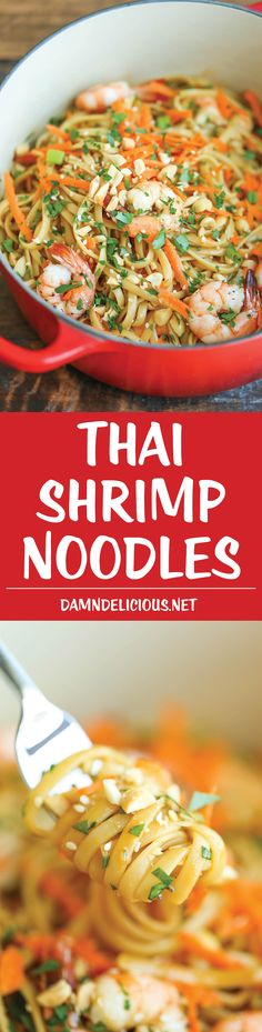 4 Points About Vintage And Standard Elizabethan Cooking Recipes! Thai Shrimp Noodles - An Easy Peasy 20 Minute Meal That Can Be Easily Adapted With More Veggies - Quicker Than Take-Out And So Much Tastier Healthier Seafood Dishes, Pasta Dishes, Seafood Recipes, Dinner Recipes, Cooking Recipes, Healthy Snacks, Healthy Eating, Healthy Recipes, Free Recipes