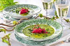 Grønnkålsuppe med brokkoli, hvitløk, løk, grønnkål, sitronsaft og honning. Server med rødbetkrem av hvite bønner, smør og rødbete. Punch Bowls