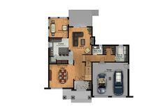 Modèle cottage Le Saule | Une Maison Grand Hall, Construction, House Ideas, Floor Plans, Cottage, Luxurious Bathrooms, Full Bath, First Home, Flat Roof