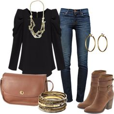 """""""black & tan"""" so simple weekday/weekend outfit with gold accessories and steve madden ankle boots."""