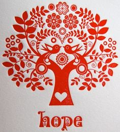 Letterpress Christmas Card Scandinavian Folk Style Red Tree of Life Hope