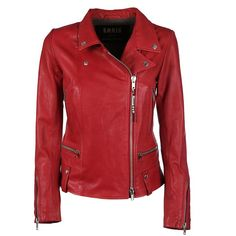 s.w.o.r.d. Impact Biker Jacket ($450) ❤ liked on Polyvore featuring outerwear, jackets, red, leather moto jacket, red moto jacket, red motorcycle jacket, straight jacket and genuine leather jackets