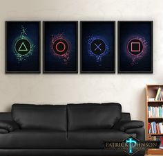 Playstation One Two Three Four Art Sony Playstation . Gamer room ideas Playstation One Two Three Four Art Sony Playstation Buttons Print Set you can find similar pins below. We have brough. Boys Game Room, Boy Room, Kids Room, Gamer Bedroom, Video Game Rooms, Video Game Decor, Video Game Bedroom, Video Games, Gaming Room Setup