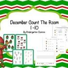 There are 10 Christmas pictures in this count the room.  There are 3 recording sheets. The first recording sheet has a place to record the number c...