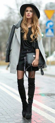#fall #fashion / gray coat + black
