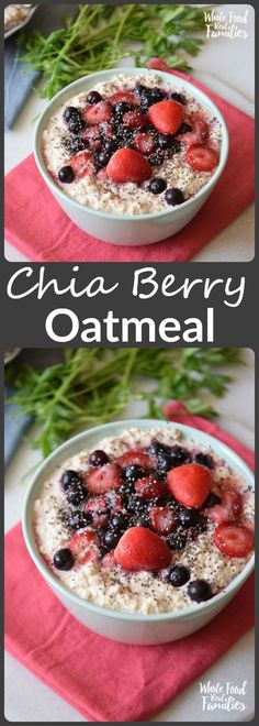 Chia Berry Oatmeal is perfect for a busy weekday morning because it cooks fast and is delicious! But it is also an easy, tasty weekend brunch!  /wholefoodrealfa/